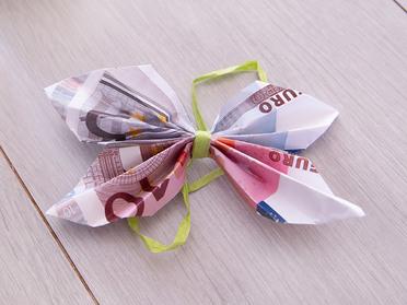 Blume-rose geld falten Geldscheine falten